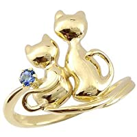 [アトラス] Atrus ネコ の ピンキーリング ブルーサファイア ソリティア 一粒の宝石 イエローゴールドK18 K18 18金 指輪 3号 一粒宝石とアベック猫のかわいいリング ファッションリング