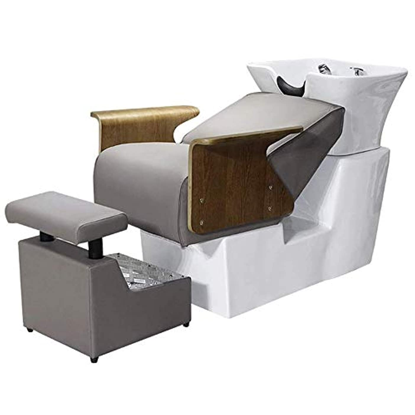 宣教師ユーザー売り手サロン用シャンプー椅子とボウル、 セラミック洗面器シャンプーベッド逆洗ユニットシャンプーボウル理髪シンク椅子用スパビューティーサロン機器