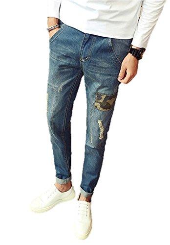 メンズデニム デニム ジーパン ダメージデニム パッチワーク 迷彩柄 ステッチ ウォッシャブルデニム パンツ ズボン ストレート スリム ボトムス メンズ ジーンズ カジュアル K9729 (34)