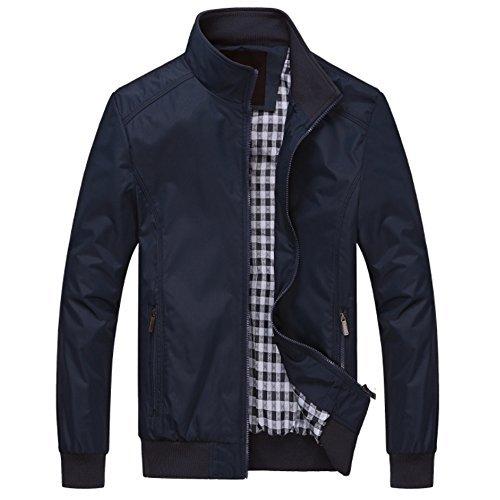 MAGE MALE Men's Windbreaker Bomber Jacket Softshell Outdoor Sportswear Coat Large Navy