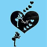 JJD Diyアート大壁時計ステッカー付き3dアクリルミラーウォールステッカー用リビングルーム寝室キッチンオフィス保育園装飾 壁紙 (Color : ブラック)