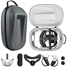 Esimen Travel Case for Oculus Quest 2 Halo Strap /Face Silicone Mask /Touch Controllers Grip Cover Strap , Includes Multiple Oculus Quest 2 Accessories (Gray)