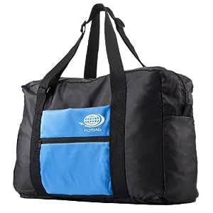 サンワダイレクト 折りたたみバッグ 旅行 スーツケース 対応 軽量 15リットル ブラック×ブルー 200-BAG063BL
