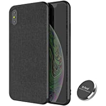 for iPhone Xs Max Magnetic Case PU Leather Fabric Pattern Plastic Hard Case with Invisible Built-in Metal Plate for Magnet Phone Holder (DO NOT Support Wireless Charging) - 6.5 inch, Balck