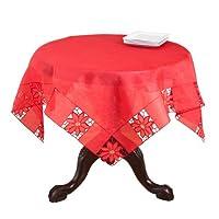 "Bellingham刺繍カットワーク刺繍デザインHolidayクリスマス赤テーブルクロス。65"" x120""長方形。One Piece。"
