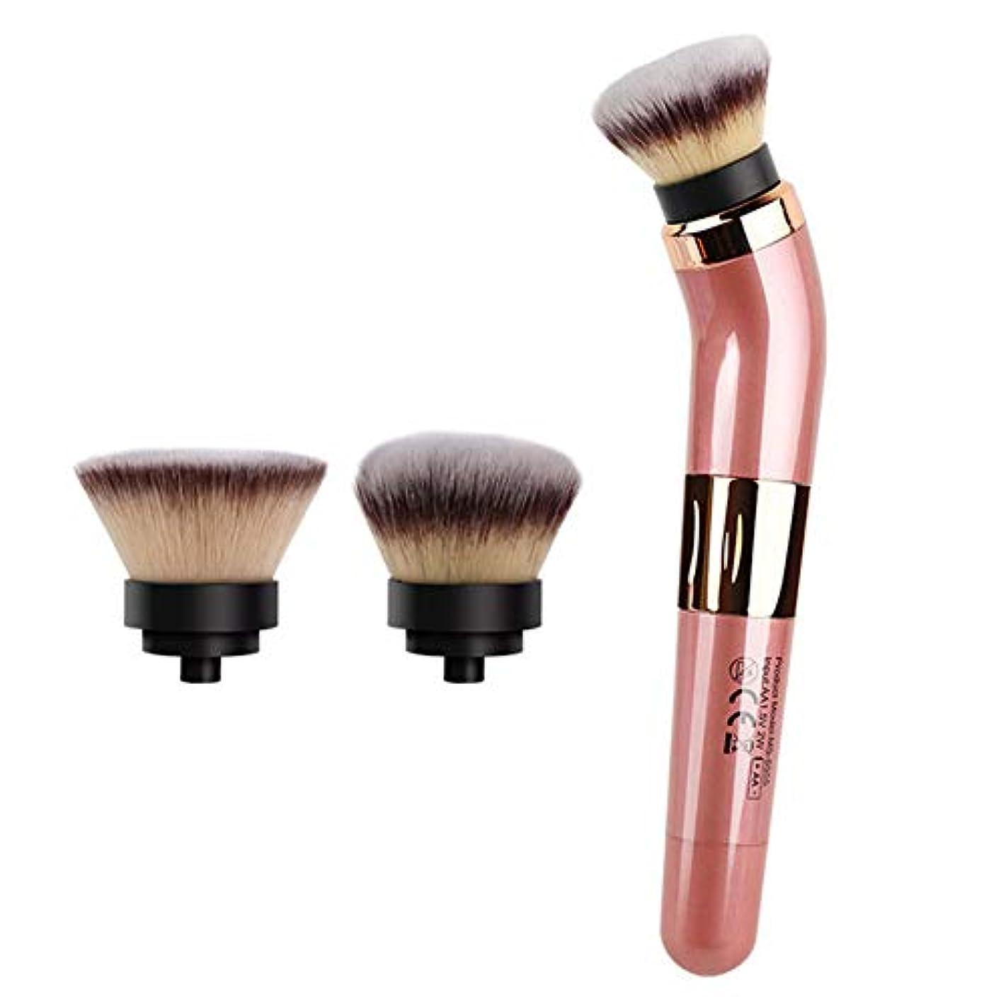 電動回転化粧ブラシセット、360°回転自動化粧ブラシ、ファンデーションおよびパウダーブラシ用の取り外し可能なヘッドホルダー、2つのブラシヘッドが含まれる(ピンク)