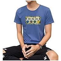 formanism シンプル キュート 夏 涼しげ カジュアル イラストプリント 丸首 半袖 Tシャツ L メンズ