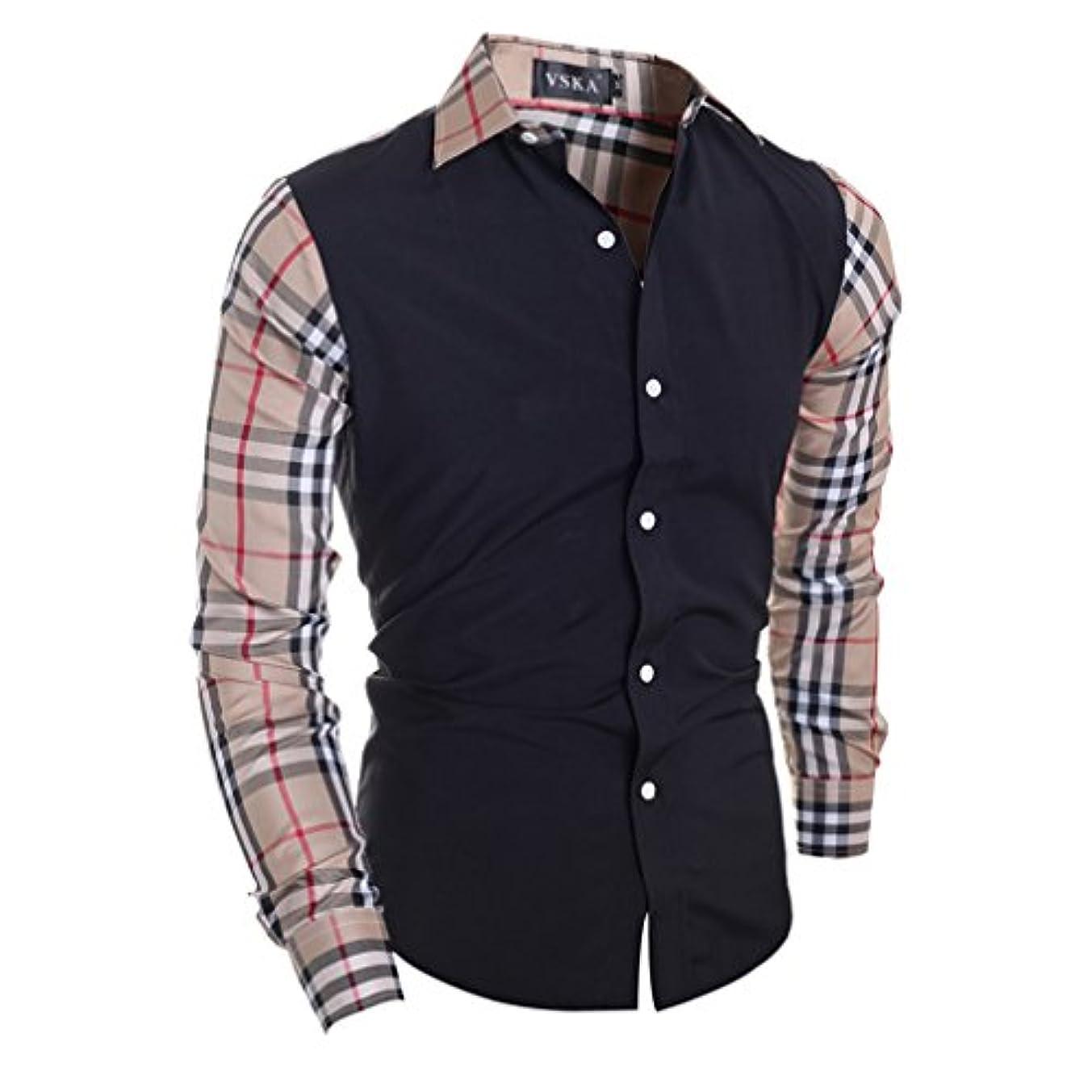 おっと電卓ジャムHonghu メンズ シャツ 長袖 秋冬 チェック柄 カラー切り替え スリム  ブラック XL 1PC
