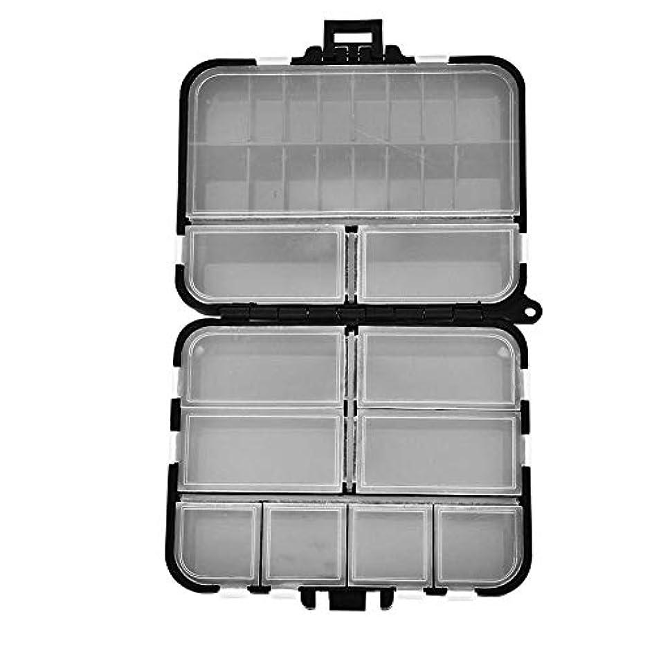 シルエット苦味休日に釣りケース ルアーケース 釣り道具箱 釣り用 生活防水 仕切りのデザイン 軽量 大きい容量 プラスチック製 サイズ:約 12×10×3.4cm ブラック
