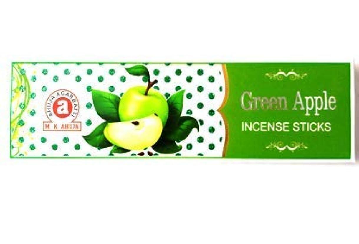 突然の矩形引き渡すAhuja Green Apple Agarbatti Incense Stick - Pack of (6)