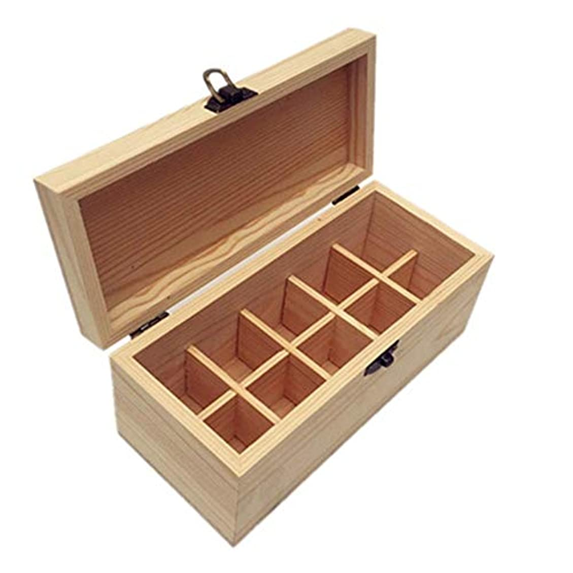 塊覗くプロフィールアロマセラピー油ボトル用10個のスロット木製のエッセンシャルオイルストレージボックスオーガナイザー アロマセラピー製品 (色 : Natural, サイズ : 21.2X9.5X9CM)