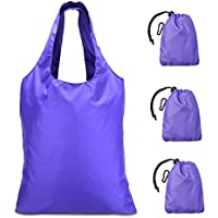 Luxja エコバッグ ショッピングバッグ 折りたたみ 同じパターンの3点セット 紫