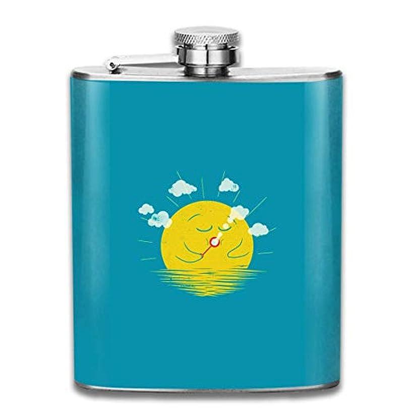誇大妄想ごめんなさい桃かわいい太陽フラスコ スキットル ヒップフラスコ 7オンス 206ml 高品質ステンレス製 ウイスキー アルコール 清酒 携帯 ボトル