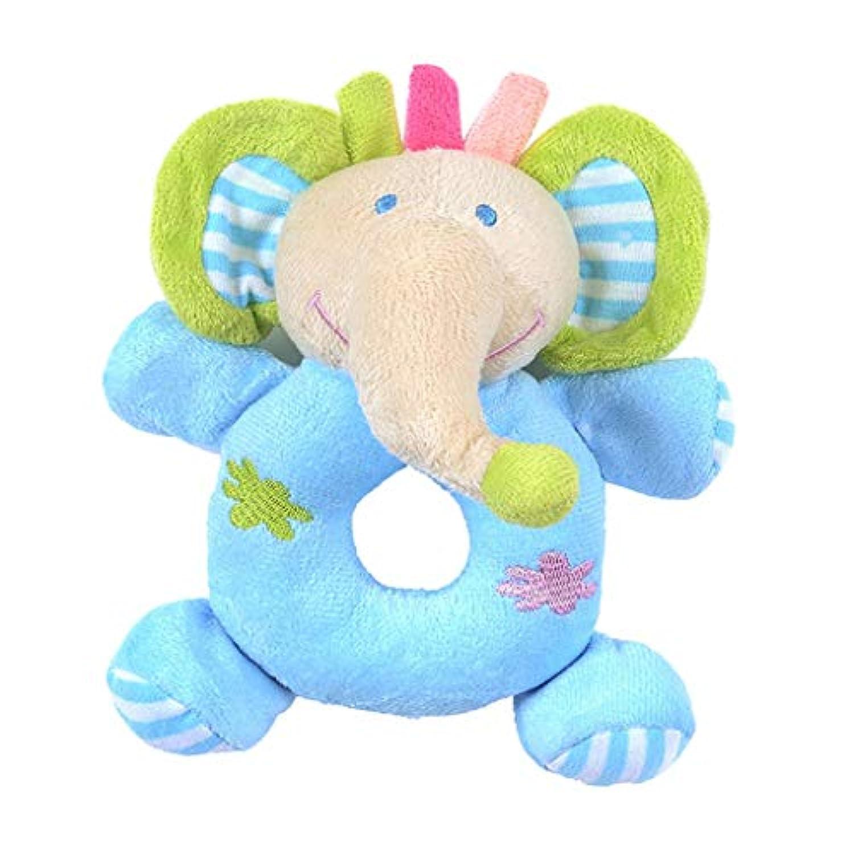 Baoblaze 可愛い がらがら 動物ぬいぐるみ 知育玩具 聴覚に刺激 出産お祝い プレゼント 全6種  - 青い象