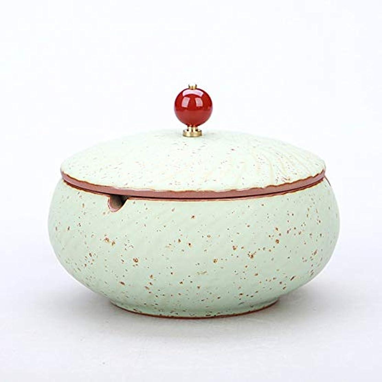 放つ扇動する知覚するふたが付いている陶磁器の灰皿、防風、喫煙者のための灰のホールダー、ホームオフィスの装飾のためのデスクトップの喫煙灰皿 (色 : ブロンズ)