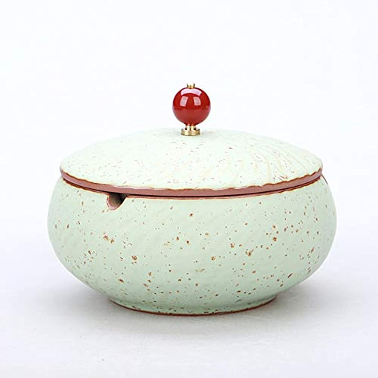 容器崇拝します氏ふたが付いている陶磁器の灰皿、防風、喫煙者のための灰のホールダー、ホームオフィスの装飾のためのデスクトップの喫煙灰皿 (色 : ブロンズ)