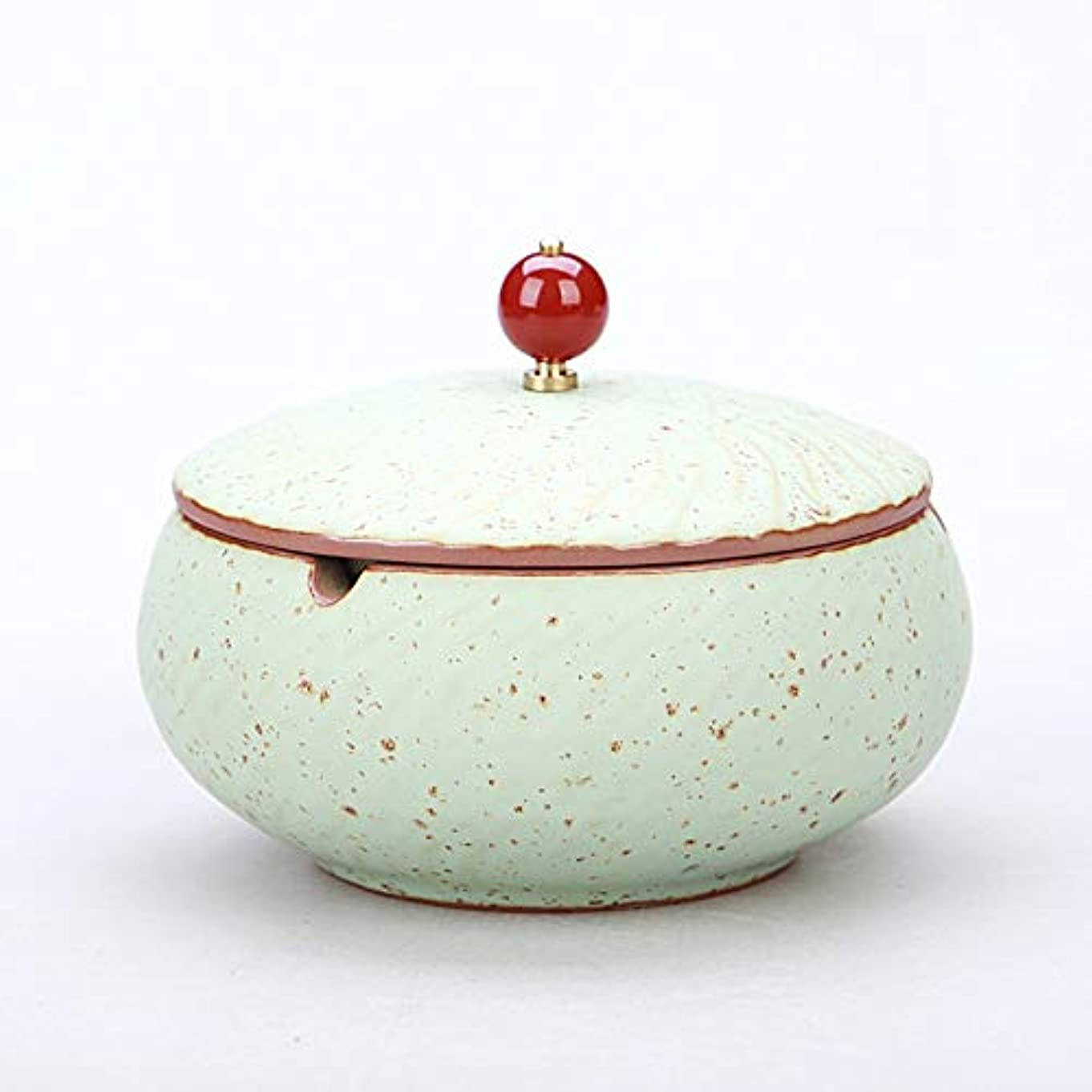 いたずらな簡潔なアクセシブルふたが付いている陶磁器の灰皿、防風、喫煙者のための灰のホールダー、ホームオフィスの装飾のためのデスクトップの喫煙灰皿 (色 : ブロンズ)