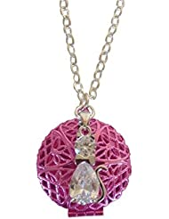 Pink Tuxedo Cat Girl's Aromatherapy Necklace Essential Oil Diffuser Locket Pendant Jewelry for Children w/reusable...
