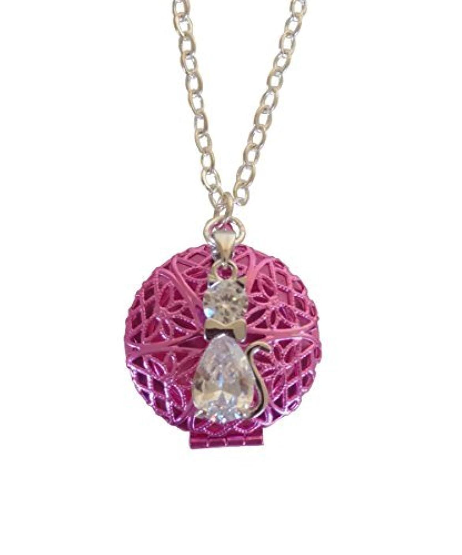 弁護ホール噛むPink Tuxedo Cat Girl's Aromatherapy Necklace Essential Oil Diffuser Locket Pendant Jewelry for Children w/reusable...