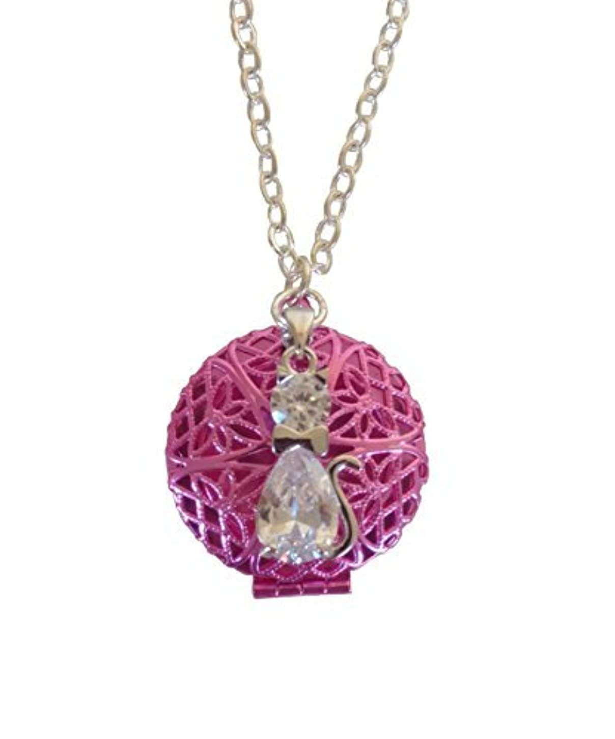 年次ルビー広大なPink Tuxedo Cat Girl's Aromatherapy Necklace Essential Oil Diffuser Locket Pendant Jewelry for Children w/reusable...