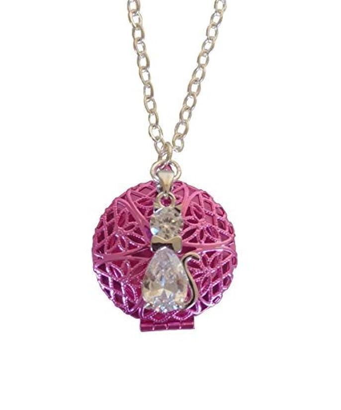 少年十分です固めるPink Tuxedo Cat Girl's Aromatherapy Necklace Essential Oil Diffuser Locket Pendant Jewelry for Children w/reusable...