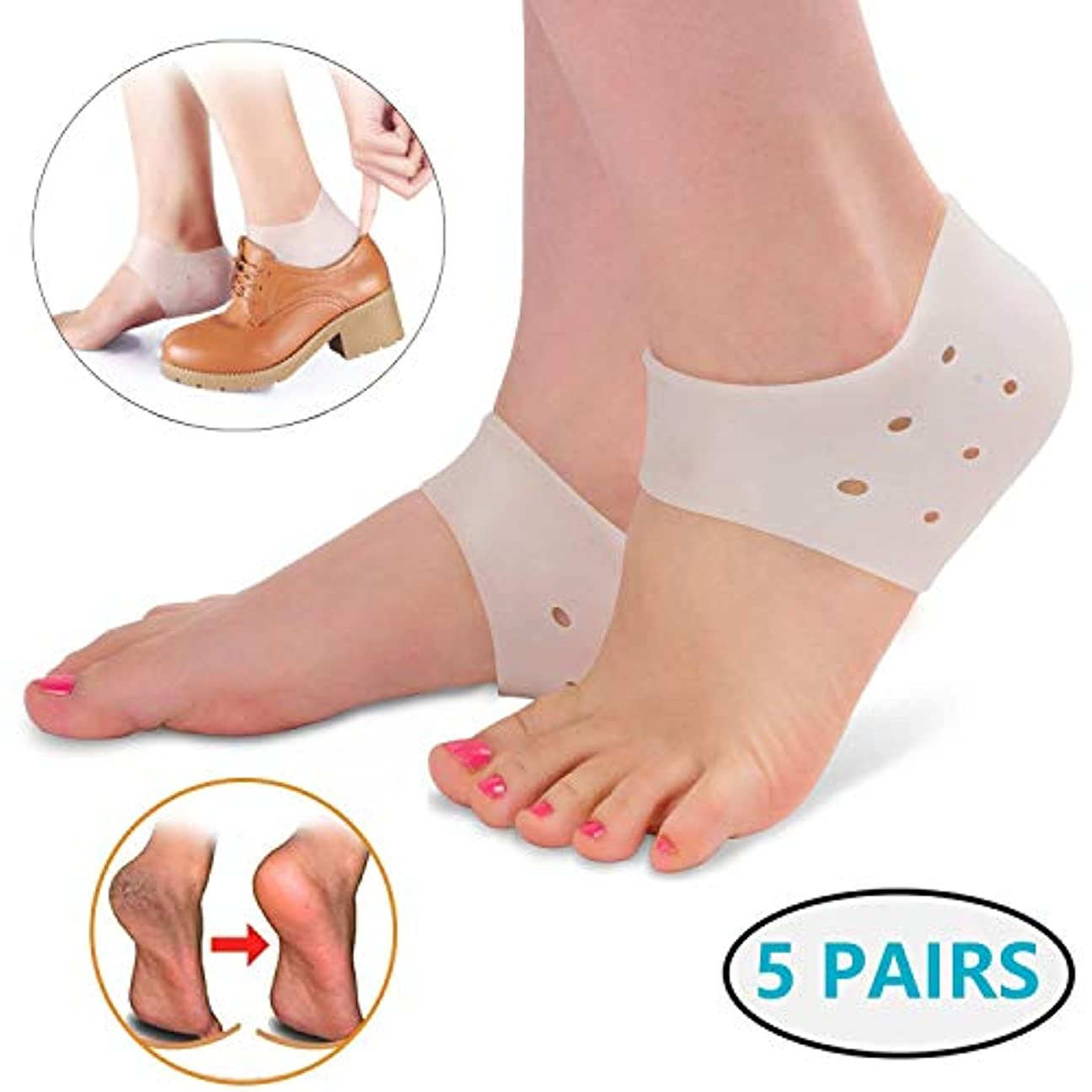 言い換えると委託ヒープ足底筋膜炎のヒールカップ-ヒールの痛みのためのゲルヒールパッドクッション、男性と女性のための乾燥したひびの入ったヒールとアキレス腱炎(5ペア)
