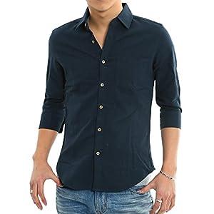 インプローブス 綿麻 シャツ ウッド調ボタン スリム ストレッチ パナマ織りシャツ メンズ B 7分袖 ネイビー L サイズ