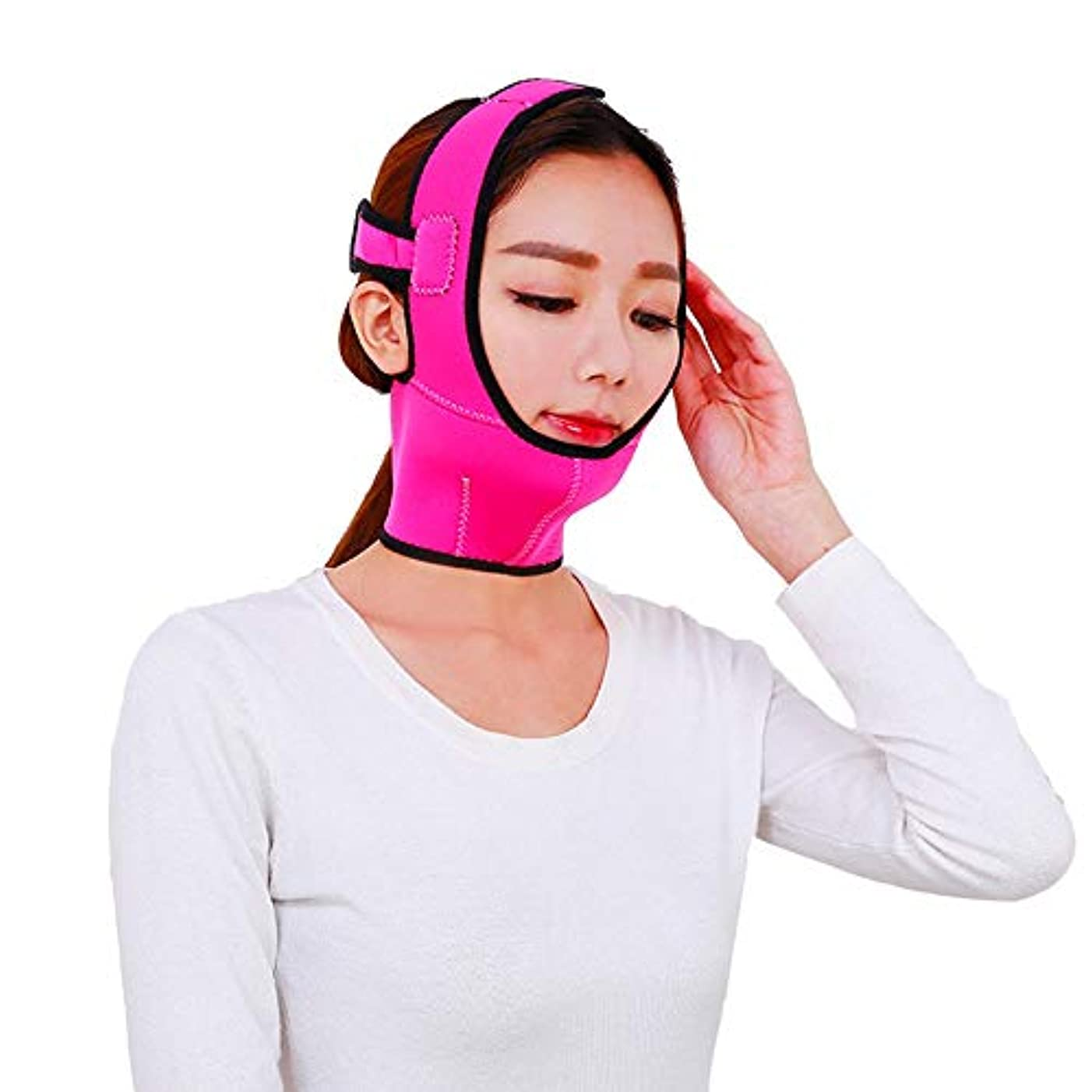 後ろ、背後、背面(部無人速記顔を持ち上げるベルト通気性の顔面リフティング包帯ダブルチン顔面リフティングマスクを締めるV顔面顔面リフレッシングツール