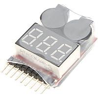 SODIAL(R)オリジナルRCリチウムイオンリポバッテリーテスター低電圧ブザーアラーム警告1-8Sデジタルディスプレイインジケーター