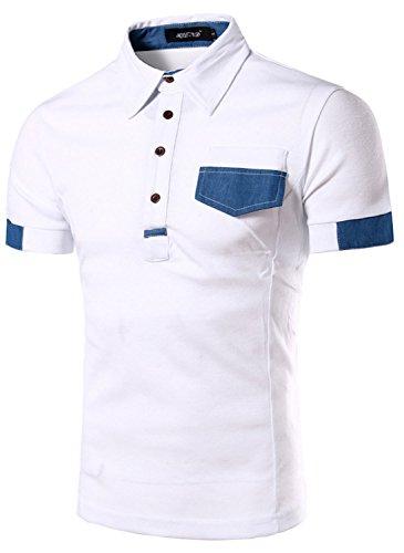 (ピゾフ)Pizoffメンズ ポロシャツ半袖 ホワイト カジュアル シンプル無地おしゃれ カッコイイ スポーツウェアゴルフウェア 快適 男女兼用 ポロシャツB001-white-M
