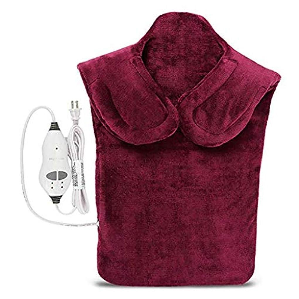 ミシン目興奮するねばねば戻る電気マッサージ器、首暖房パッド、フランネル健康ラップ首/肩/血液循環を促進、筋肉の痛みを和らげる、暖かい保つために (Color : Winered, Size : One size)