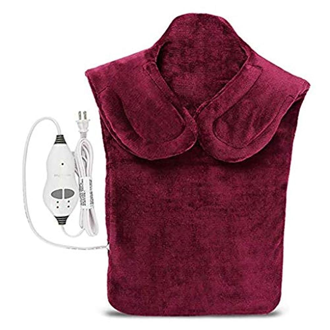 指令日曜日によると戻る電気マッサージ器、首暖房パッド、フランネル健康ラップ首/肩/血液循環を促進、筋肉の痛みを和らげる、暖かい保つために (Color : Winered, Size : One size)