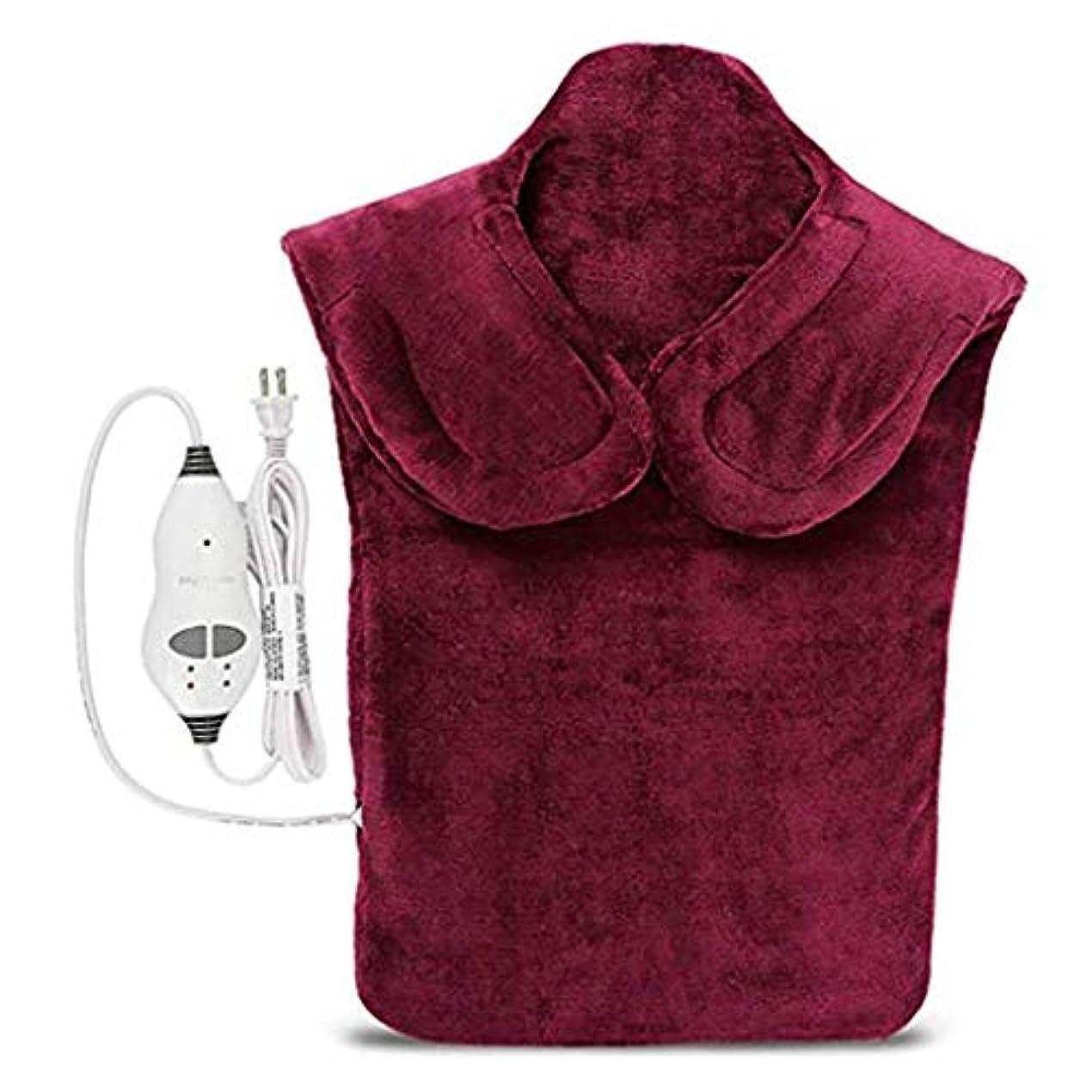 仮定、想定。推測工業化する失効戻る電気マッサージ器、首暖房パッド、フランネル健康ラップ首/肩/血液循環を促進、筋肉の痛みを和らげる、暖かい保つために (Color : Winered, Size : One size)