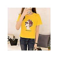 女性韓国春夏ブラックコットンプリント半袖Tシャツ原宿トップイエローM
