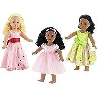 18インチ人形Clothes |値バンドル – セットof 3人形ドレス、Includingピンクドレスwithサッシ、グリーンFloralドレスwith Purse , and Lovelyピンクチュチュドレスwith Matching Headband | FitsアメリカンガールDolls