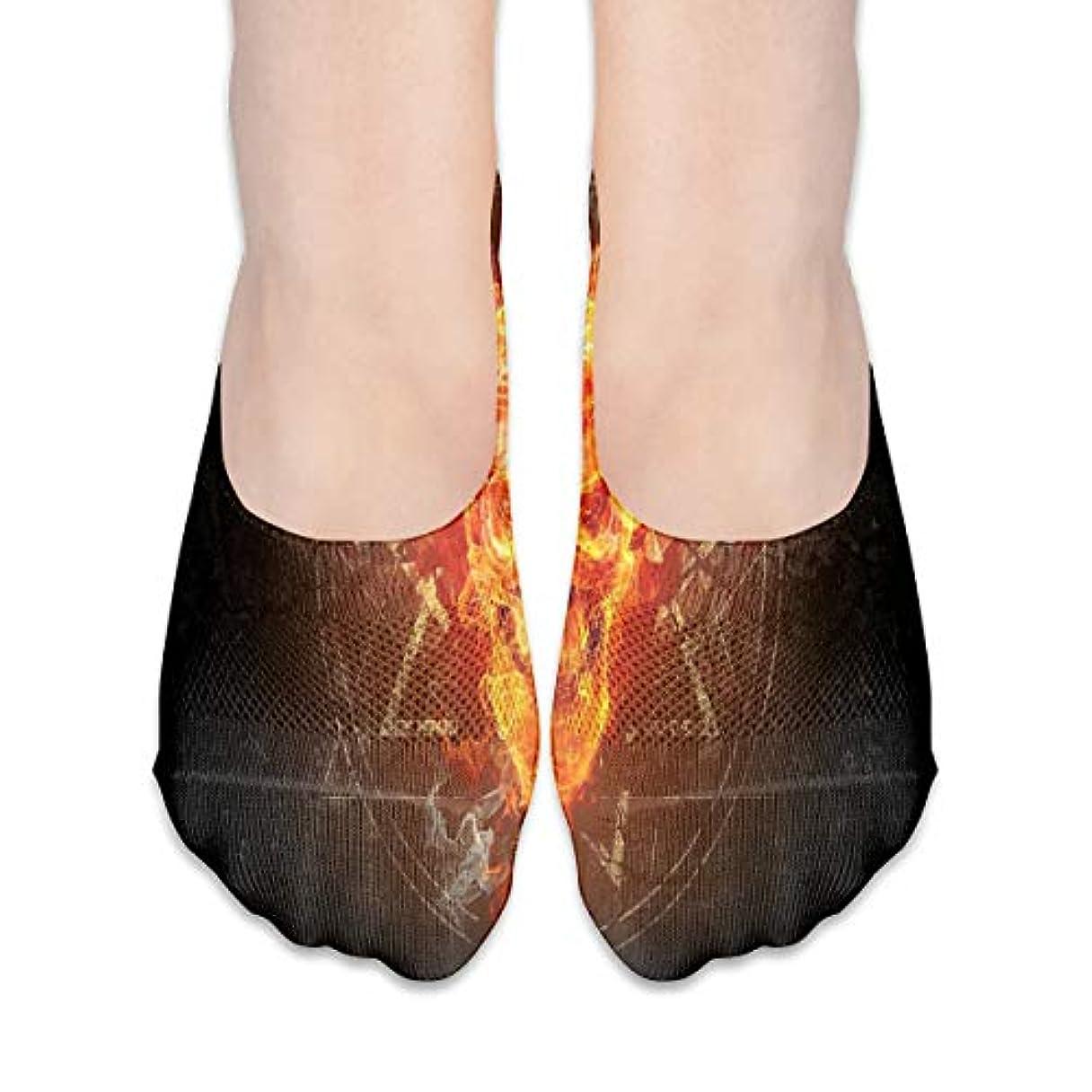リゾート悪魔ルーキー女性の燃える頭蓋骨(4)ローカットコットンボート隠し目に見えない靴下