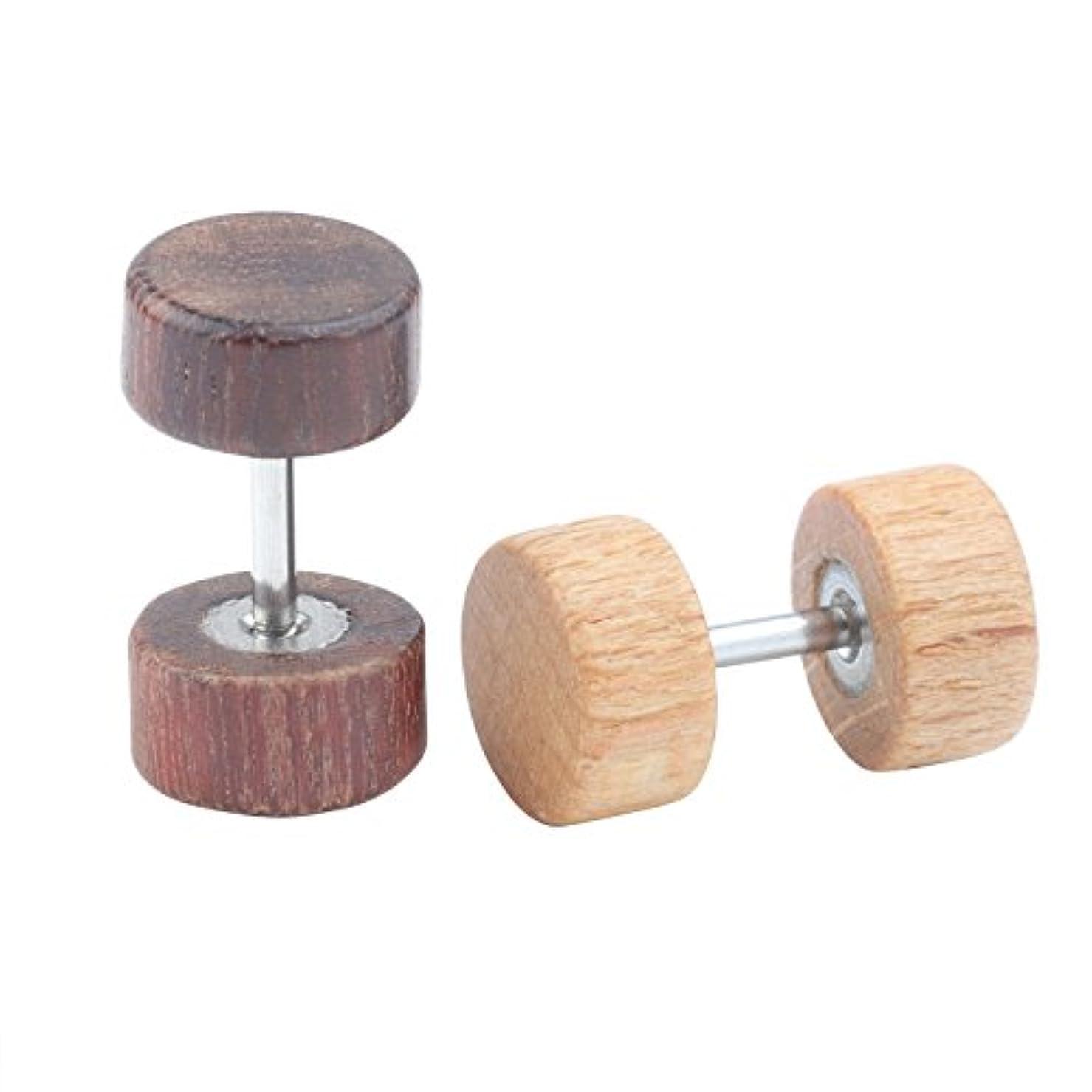 協同ようこそアブストラクトユニセックスイヤリングスタッド木製チータープラグスタッドイヤリングメンズボーイズ低刺激性 ブラック 170815yan-97-5