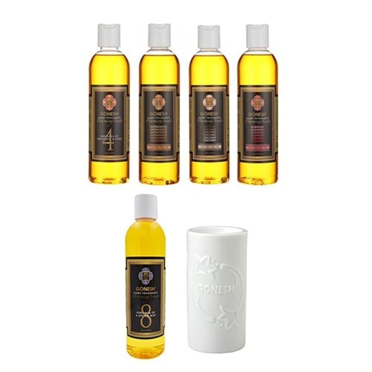 経験リズミカルなメンタルガーネッシュ GONESH ウォーミングセント5つ(No.4、8、COCONUT、RASPBERRY、SANDALWOOD) の香りが楽しめるアロマバーナーセット 日本国内正規品