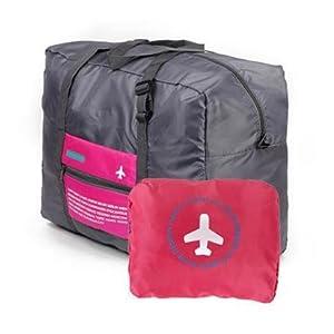 【IATA Golf】 スーツケース の持ち手に通せる 軽量 折りたたみ トラベル バッグ 旅行に便利 (ローズ)