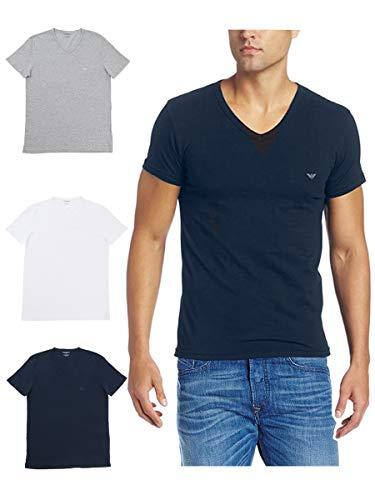 エンポリオアルマーニ EMPORIO ARMANI 3枚セット 半袖 Tシャツ メンズ Vネック イーグルマーク グレー、白、紺 110856-CC722 並行輸入品