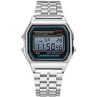 Fashion Vintage LED Digital Watch Stainless Steel Strap Alarm Wrist Watch Dress Business Wrist Watch for Men Women