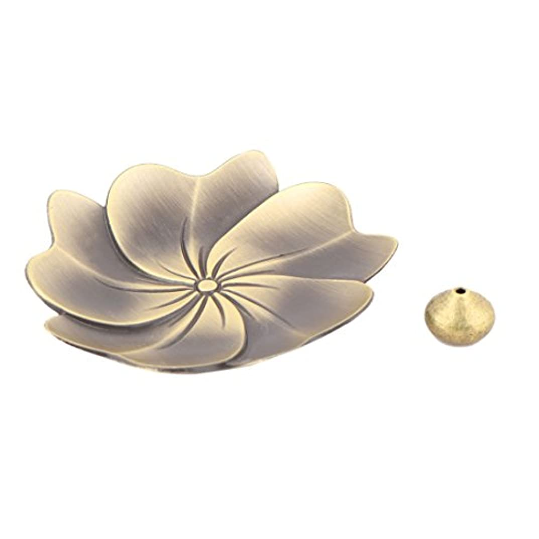 カストディアン言う起きるuxcell 香炉ホルダー お香立て インセンスホルダー 蓮 ロータス 花型 セット 金属製 家庭用 直径9cm