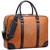 Banuce Vintage Genuine Oil-Waxed Leather Briefcase for Men Business Attache Case Tote 14 inch Laptop Shoulder Messenger Bag