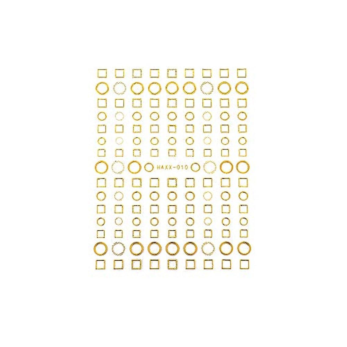 花適切に説教パーツ サークル ラウンド スクエア フレーム くり抜き ネイルシール フレームコレクションシール ゴールド【HAXX-010】