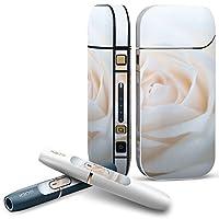 IQOS 2.4 plus 専用スキンシール COMPLETE アイコス 全面セット サイド ボタン デコ フラワー 写真・風景 白 薔薇 写真 005080
