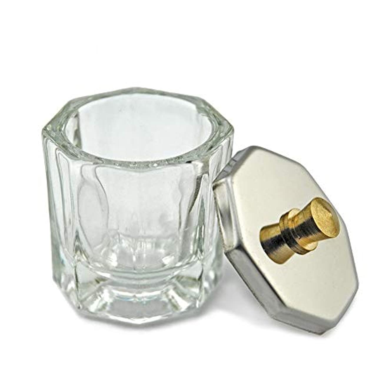 ちらつき本質的ではない夫婦KADS 八角形ネイルダッペンディッシュ フタ付き ガラス製 筆洗いガラス容器 ジェルネイル用筆洗浄