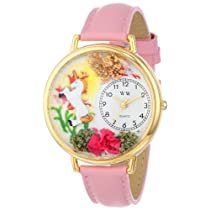 ユニコーン ピンクレザー ゴールドフレーム時計 #G1610002