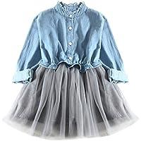 Wang Xiang Toddler Baby Girls Long Sleeve Denim Tulle Dress Princess Tutu Dress Cowboy Clothes