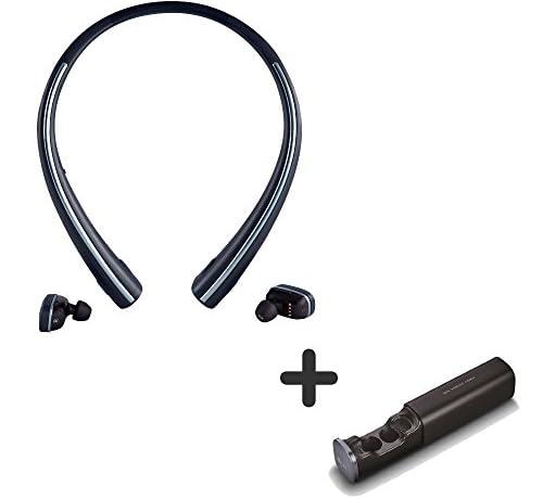 LG TONE FREE HBS-F110 bluetooth earbuds smartphone earphone wireless headsetワイヤレスヘッドセット ワイヤレスイヤフォン, Black (並行輸入品) (Basic+充電クレードル)