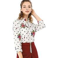 Allegra K Women's Tie Ruffled Neckline Button Down Polka Dots Floral Blouse Tops